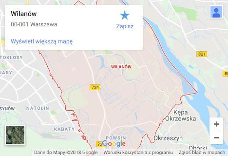 Mapa Google hydraulik Warszawa Wilanów